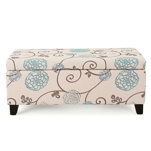 Breanna White and Blue Floral Fabric Storage Ottoman