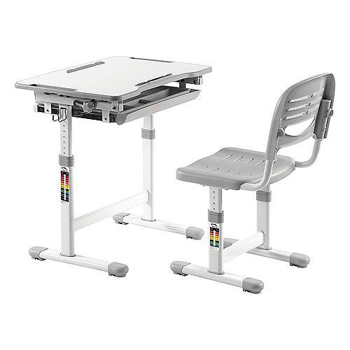 "39"" Grey Adjustable Height Childrens Desk with Storage"