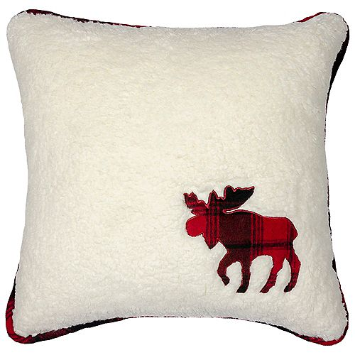 """LOMOND (FLEECE) REVERSIBLE CUSHION 18x18"""", OFF-WHITE/MULTI PLAID, MOOSE DESIGN, WITH REMOVABLE COVER"""
