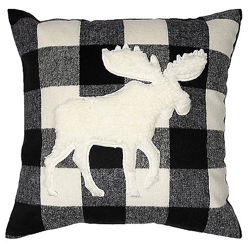 """FLINDERS (FLEECE) CUSHION 18x18"""" BLACK/OFF-WHITE PLAID, MOOSE DESIGN, WITH REMOVABLE COVER"""