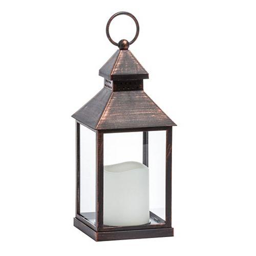 Lanterne avec bougie à DEL sans flamme Essentials - Cuivre antique