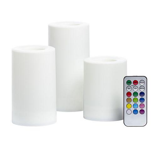 Trio de bougies piliers à DEL sans flamme à couleur changeante avec télécommande, blanc