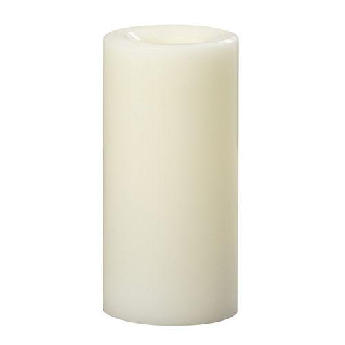 Bougie à DEL en cire tous temps Premier, 7,6 x 15,2 cm, crème