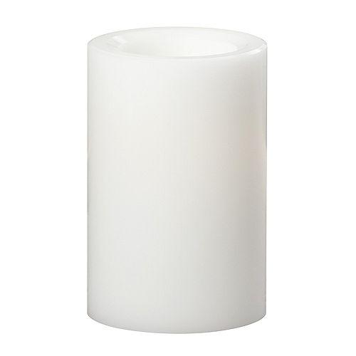Bougie à DEL en cire tous temps Premier, 10,2 x 15,2 cm, blanc