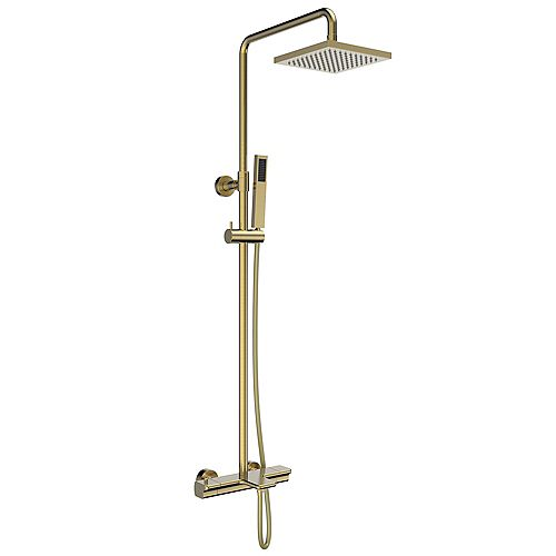 Jade Bath Jacki Thermostatic Shower System with Hand Shower and Tub Filler Brushed Gold Finish