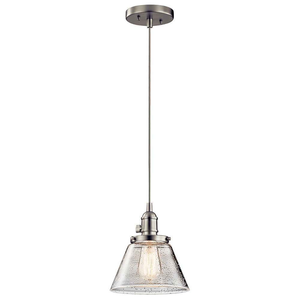Kichler Avery 8.25-inch 1-Light Brushed Nickel Cone Mini Pendant Light with Clear Seeded Glass
