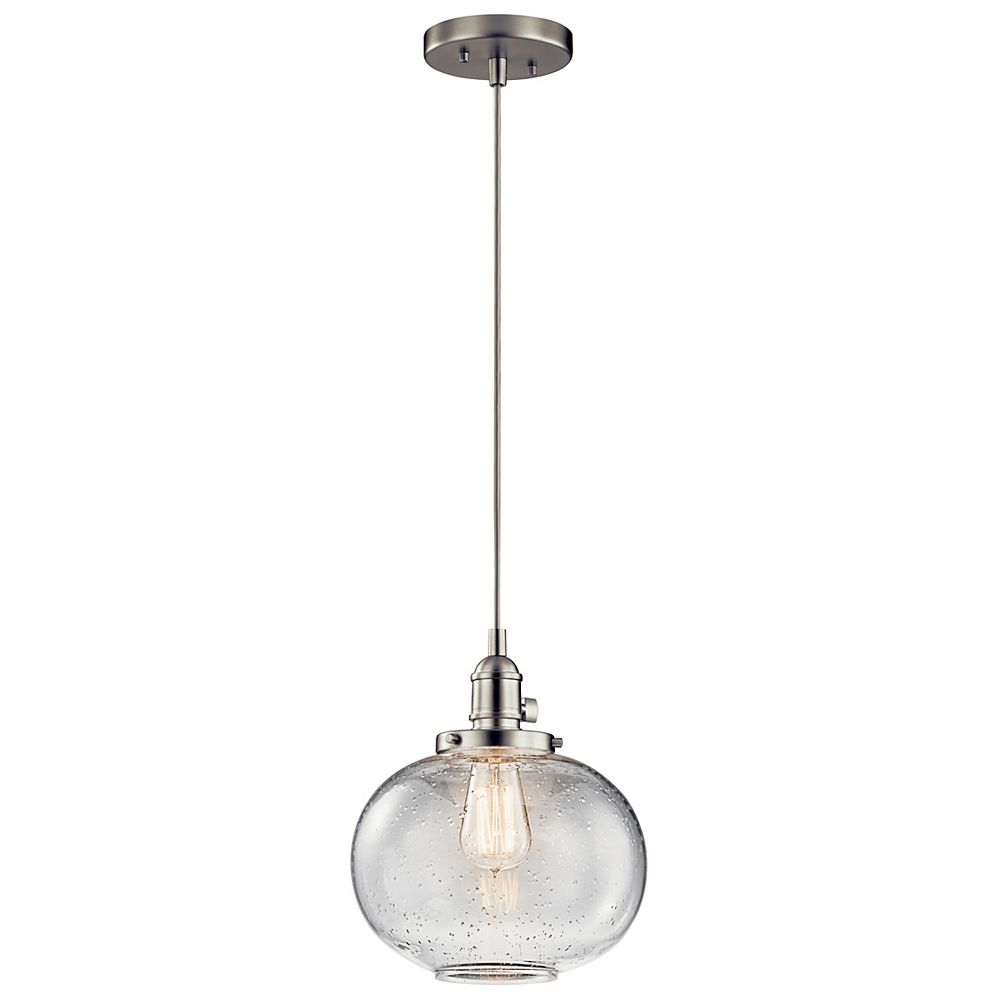 Kichler Avery 9.75-inch 1-Light Brushed Nickel Mini Pendant Light with Clear Seeded Glass