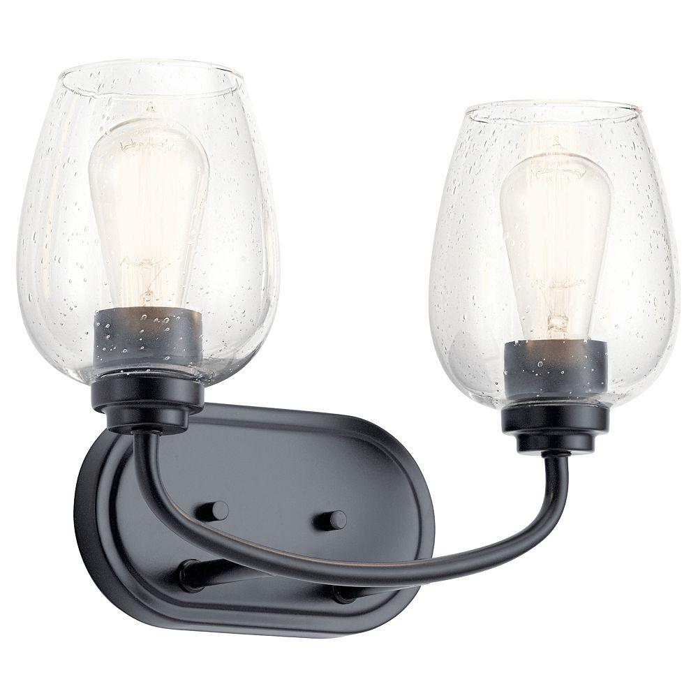 Kichler Valserrano 2-Light Black Vanity Light with Clear Seeded Glass Shade