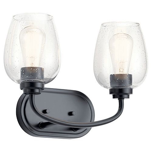 Kichler Valserrano 2-Light Black Vanity Light with Clear Seeded Glass Shade