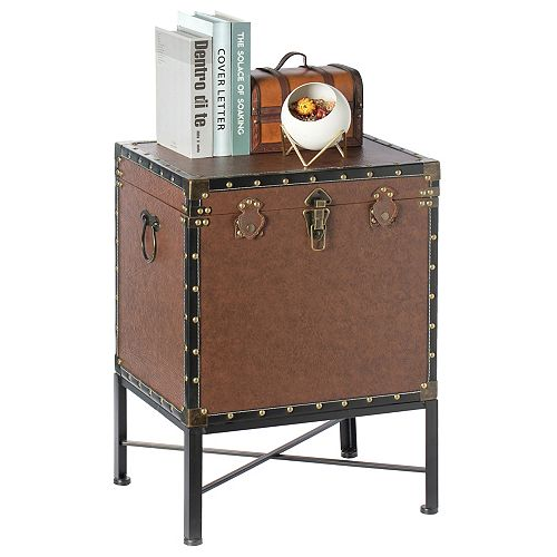 Brown and Black Trimmed Faux Leather Lockable Square Lined Storage Trunk, End Table on Metal Stand