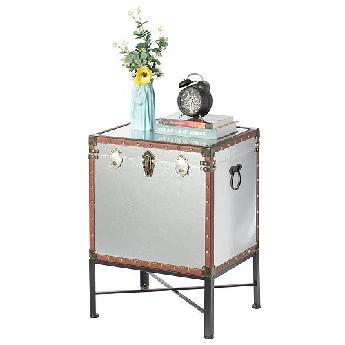 Silver and Brown Trimmed Faux Leather Lockable Square Lined Storage Trunk, End Table on Metal Stand