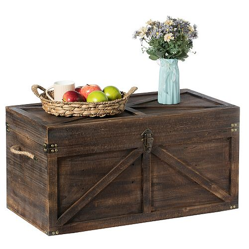 Large Wooden Lockable Trunk Farmhouse Style Rustic Design Lined Storage Chest with Rope Handles
