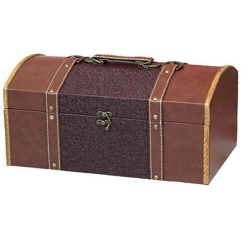 Vintiquewise(TM) Leather Trunk/Treasure Chest for Scarves, 15-Inch