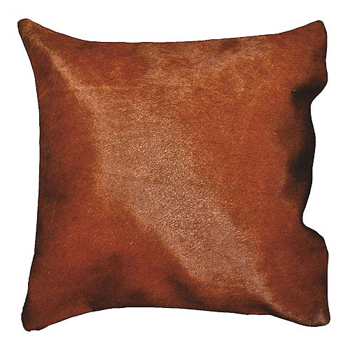 16 in. Brazilian Genuine Natural Leather Real Hair On Double Sided Cowhide Throw Pillow, Brown