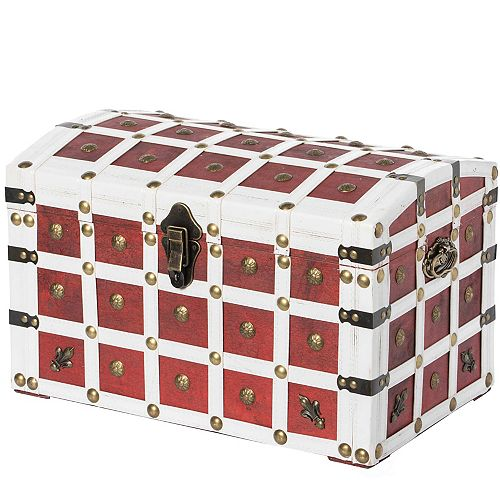 Antique Pirate Style Red and White Storage Trunk with Lockable Latch and Handles