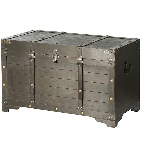 Brown Large Wooden Storage Trunk with Lockable Latch