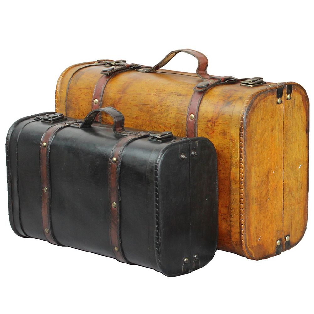 Vintiquewise 2-Colored Vintage Style Luggage Suitcase/Trunk, Set of 2