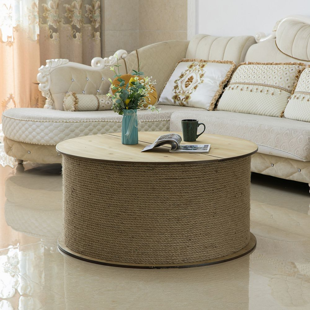 Vintiquewise Decorative Round Spool Shaped Wooden Coffee Table With Rope Lift Top Storage The Home Depot Canada