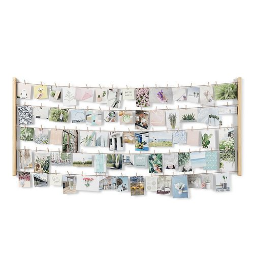HANGIT - Pêle-mêle mural XL 66x152cm 80 pinces bois naturel