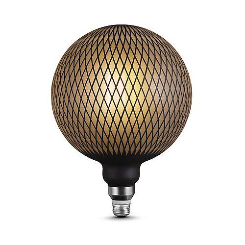 Ampoule 6W à DEL de luxe surdimensionnée Moderna, format G200, design diamants au fini noir