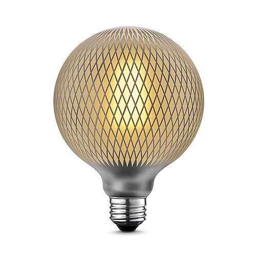 Ampoule 4W à DEL de luxe surdimensionnée Moderna, format G40, design hexagones au fini argent