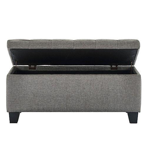 Modern Rectangular Storage Ottoman in Grey