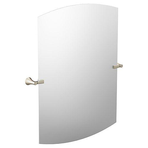 Flara 37.75-inch x 30.5-inch Frameless Pivoting Wall Mirror in Brushed Nickel