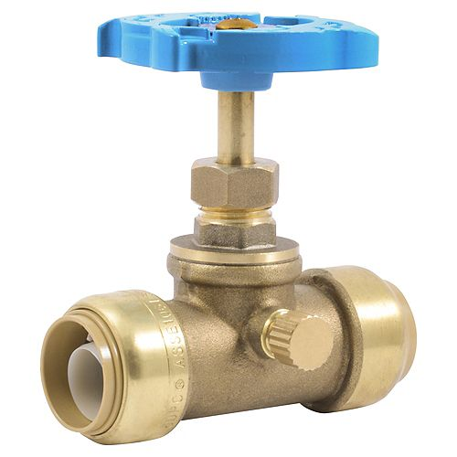 SharkBite-3/4 inch x 3/4 Push-to-Connect Gate Valve with Drain