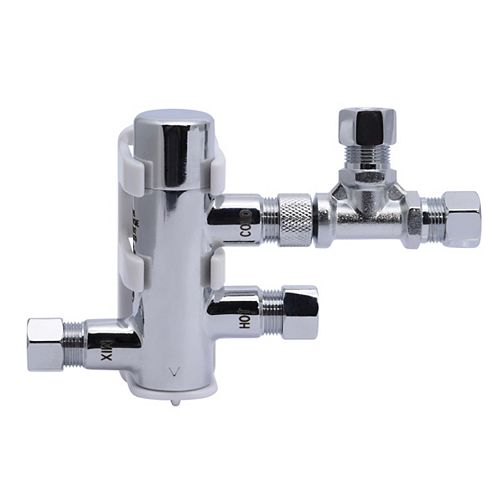 Cash Acme-3/8 inch Compression HG-135 Thermostatic Mixing Valve with Compression Tee & Elbow