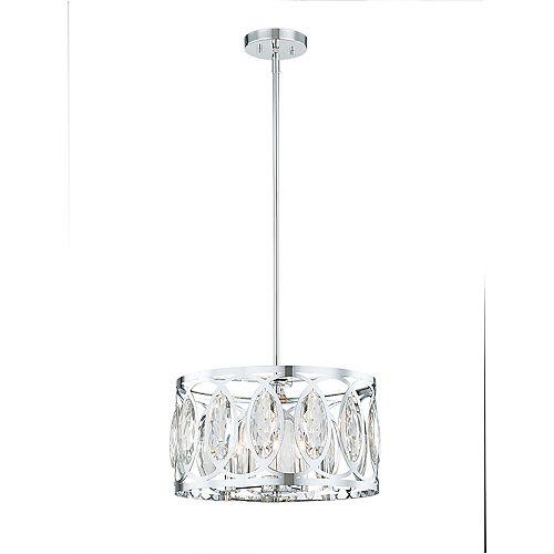 Luminaire suspendu chromé à 4 lumières diffuseur à ornements en cristal