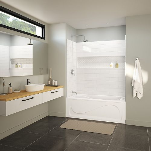NexTile 60-inch x 30-inch x 81.5-inch Tub Shower Kit with Cocoon Left Hand Drain Bath in White