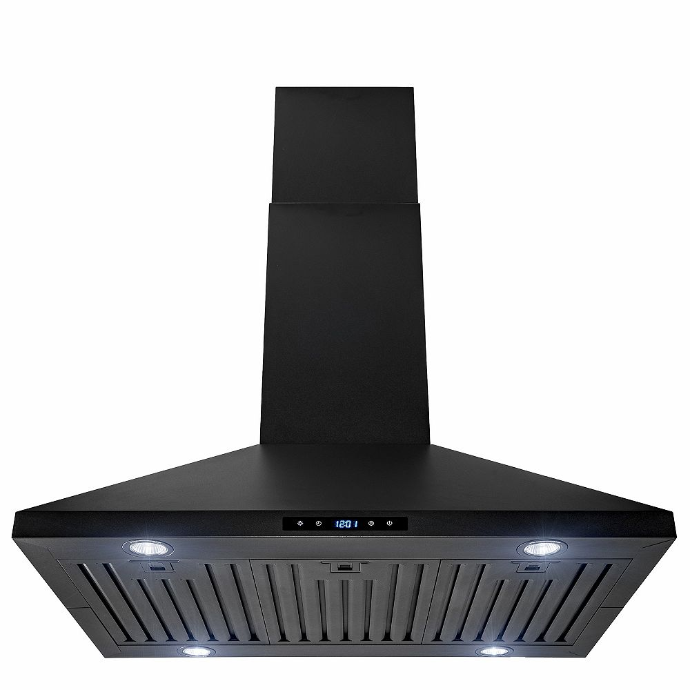AKDY 36 in. Kitchen Island Mount Range Hood with LED and Touch control in Black Painted Stainless Steel