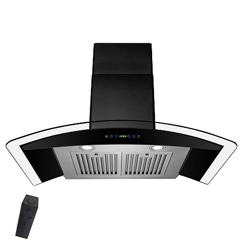 30 in. Wall Mount Range Hood in Black Painted Stainless Steel with Tempered Glass and Remote Control