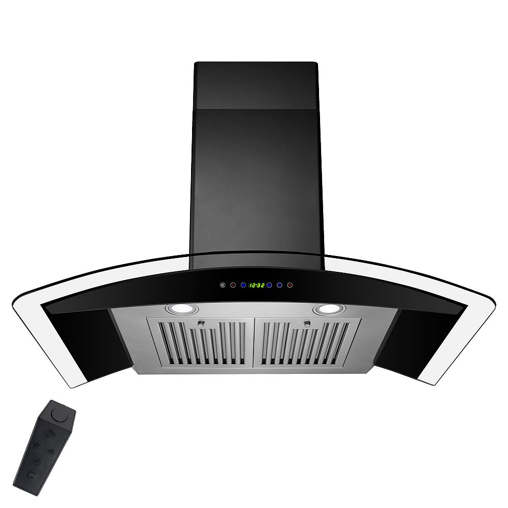 AKDY 36 in. Wall Mount Range Hood in Black Painted Stainless Steel with Tempered Glass and Remote Control
