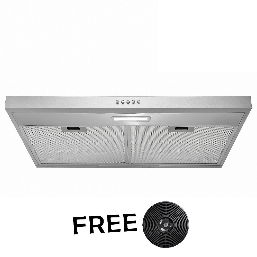 AKDY 30 in. Kitchen Convertible Under Cabinet Range Hood in Stainless Steel with LEDs and Push Panel