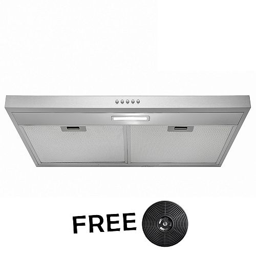 30 in. Kitchen Convertible Under Cabinet Range Hood in Stainless Steel with LEDs and Push Panel