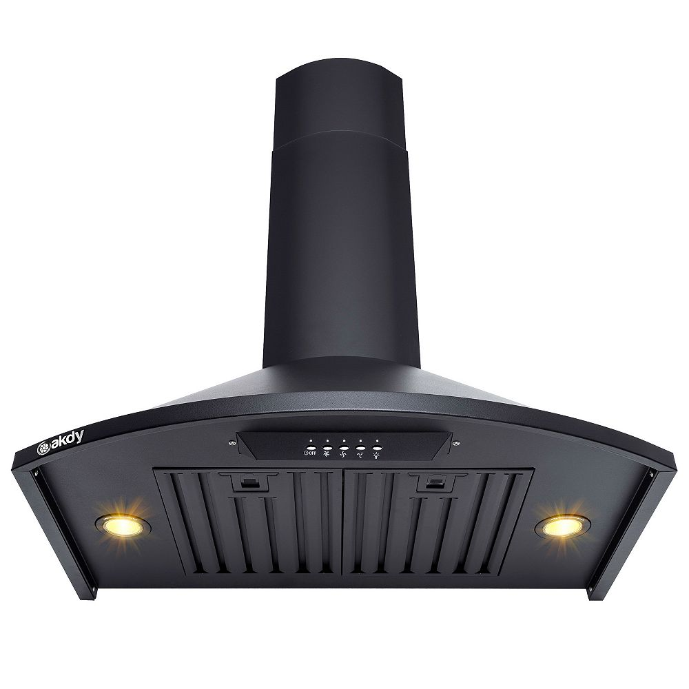 AKDY 30 in. Wall Mount Range Hood in Black Painted Stainless Steel with LEDs and Push Button Control