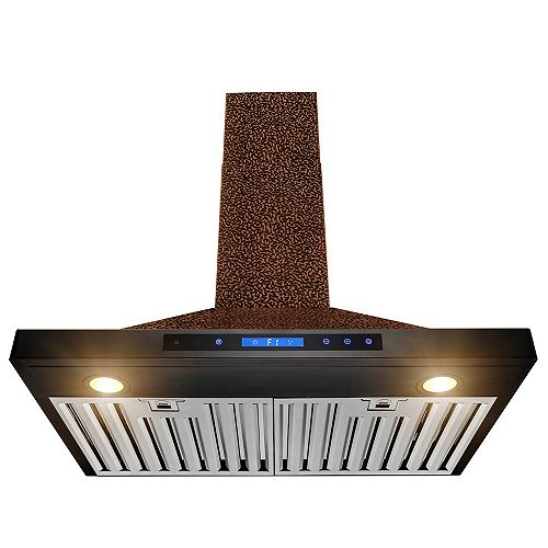30 in. Wall Mount Range Hood in Embossing Copper Stainless Steel with LEDs and Touch Controls