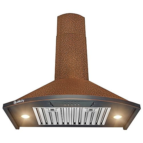 30 in. Wall Mount Range Hood in Embossing Copper Stainless Steel with LEDs and Push Button Control