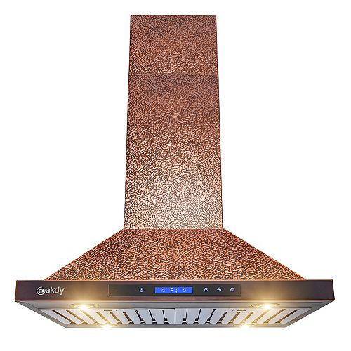 30 in. Island Mount Range Hood in Embossing Copper Stainless Steel with LEDs and Touch Controls