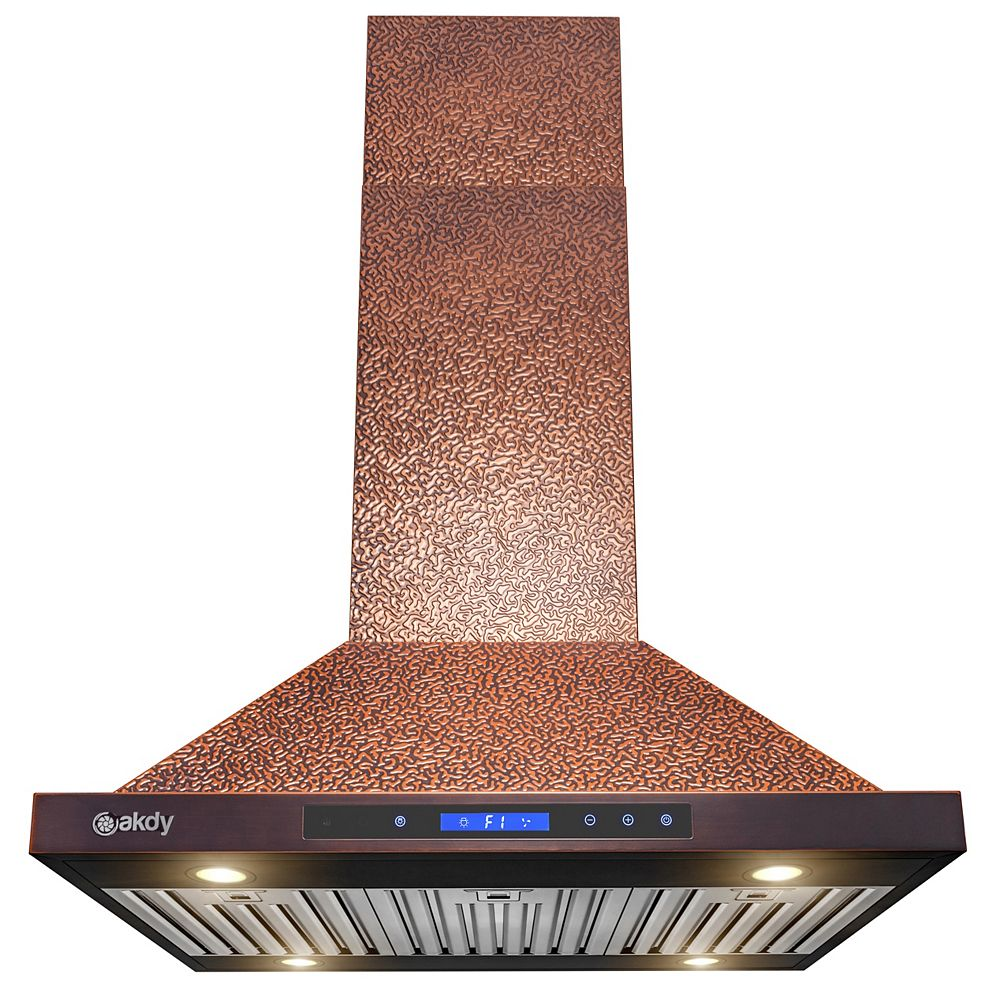 AKDY 36 in. Island Mount Range Hood in Embossing Copper Stainless Steel with LEDs and Touch Controls