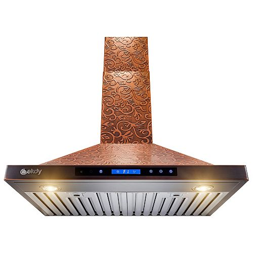 30 in. Wall Mount Range Hood in Embossing Copper Vine Design Stainless Steel with Touch Controls