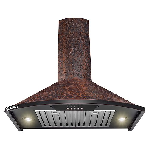 "30"" Wall Mount Range Hood in Embossing Copper Vine Design Stainless Steel with LEDs and Push Button"
