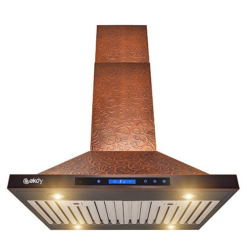 30 in. Island Mount Range Hood in Embossing Copper Vine Design Stainless Steel with Touch Controls