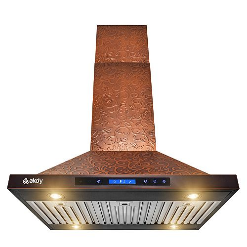 36 in. Island Mount Range Hood in Embossing Copper Vine Design Stainless Steel with Touch Controls