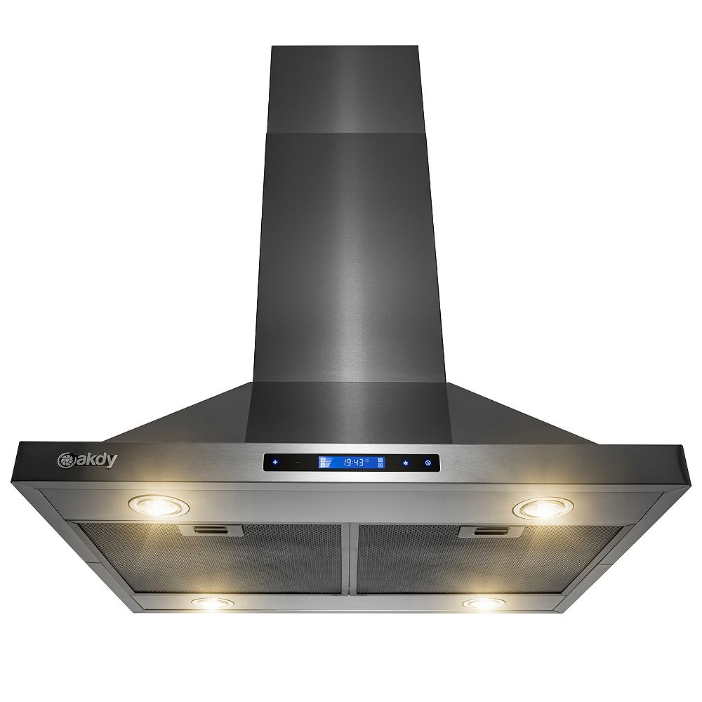 AKDY 30 in. 343 CFM Convertible Island Mount Range Hood with LED Lights in Black Stainless Steel