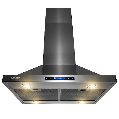 30 in. 343 CFM Convertible Island Mount Range Hood with LED Lights in Black Stainless Steel