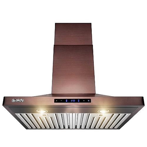 30 in. Wall Mount Range Hood in Copper Stainless Steel with LEDs and Touch Controls