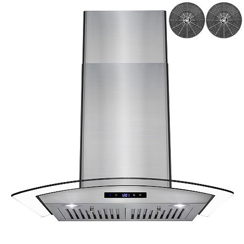 """30"""" Wall Mount Range Hood in Stainless Steel with Tempered Glass,Touch Panel and Carbon Filters"""