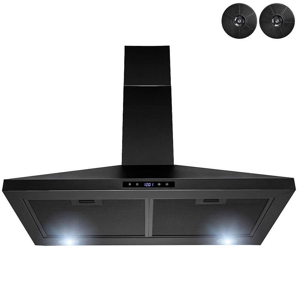 AKDY 30 in. Kitchen Wall Mount Range Hood with LED and Touch control in Black Painted Stainless Stee